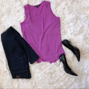 EXPRESS | Open back purple blouse tank top | small